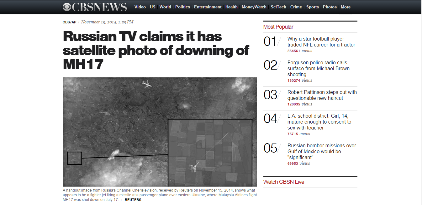 Russian TV claims it has satellite photo of downing of MH17